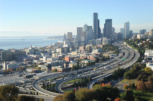"Graceful ""S"" curves of Seattle, Washington, USA, skyscrapers, freeways (Hi 90), trees, the sound, Pacific Northwest Coastal USA"