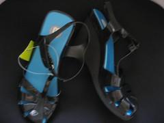 shoe(0.0), limb(0.0), leg(0.0), flip-flops(0.0), footwear(1.0), sandal(1.0), blue(1.0), black(1.0),