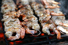 shrimp skewers over hot coals    MG 1351