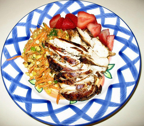 ... Chicken, Roasted Corn Carrot Avocado Salad, and Fresh Strawberries