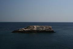 horizon, sea, ocean, body of water, wave, coast, islet, rock, cliff,