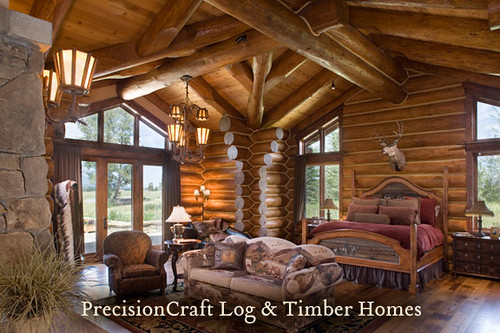 Handcrafted Log Home Bedroom Precisioncraft Log Homes