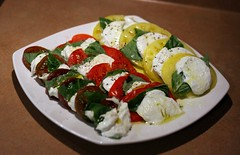 meal(0.0), greek salad(0.0), produce(0.0), feta(0.0), hors d'oeuvre(1.0), salad(1.0), vegetable(1.0), caprese salad(1.0), mozzarella(1.0), food(1.0), dish(1.0), cuisine(1.0),