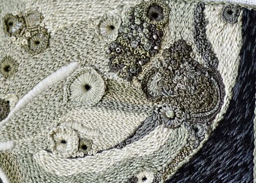 High Texture Hand Embroidery of the Moon - Detail