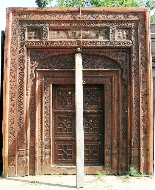 Wood carved door flickr photo sharing for Wood doors in pakistan