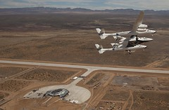 VMS Eve and VSS Enterprise visit future home, Spaceport America in New Mexico. Photo by Mark Greenberg