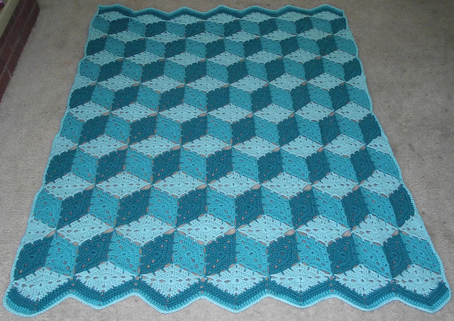 Tumbling Blocks Crochet Afghan Pattern Free : Tumbling Blocks afghan You can find the pattern here ...