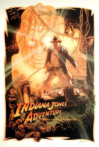 Poster, Indiana Jones Adventure - Temple of the Forbidden Eye, Adventureland, Disneyland®, Anaheim, California, circa 1995, poster_bg
