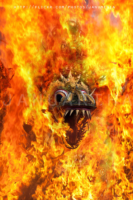 "bali royal cremation image : burning naga ""dragon"" bandha"