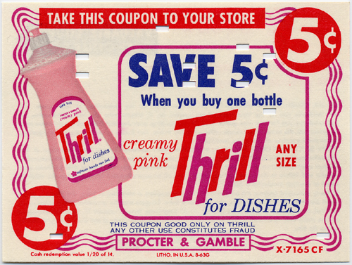 Thrill Liquid Detergent, 1963