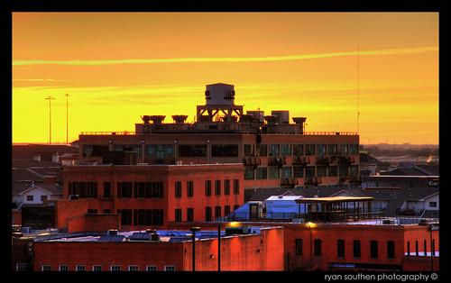 orange brick yellow sunrise dallas nikon downtown industrial texas ryan watertower dfw d200 2008 hdr highdynamicrange fortworth downtowndallas 3xp photomatix dallastexas nikond200 tonemapped southen ryansouthen
