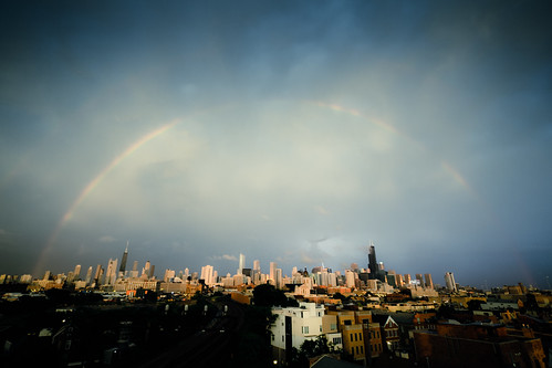 Two rainbows and a bolt of lightning striking a building over the Chicago skyline!!