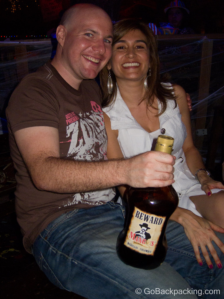 Lina and I with our table's bottle of rum.  It didn't take long for us to empty it!