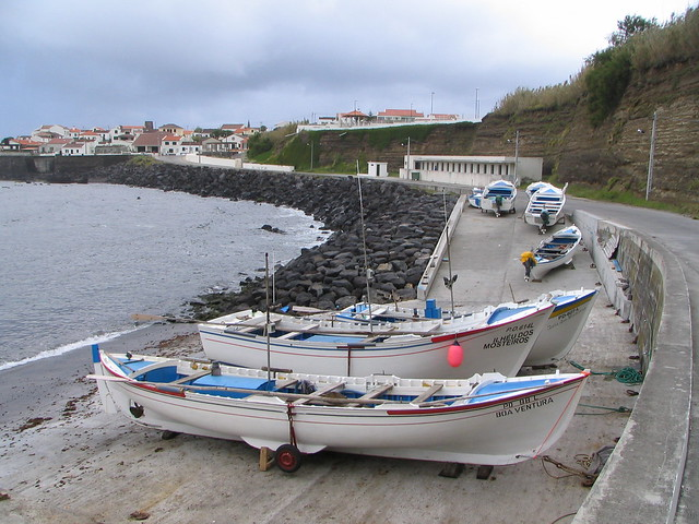 Fishing boats in Mosteiros village