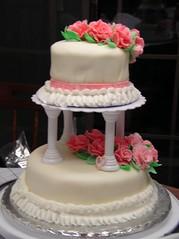 wedding ceremony supply(1.0), cake(1.0), flower(1.0), buttercream(1.0), sugar paste(1.0), food(1.0), cake decorating(1.0), icing(1.0), birthday cake(1.0), torte(1.0), pasteles(1.0), wedding cake(1.0), cuisine(1.0), pink(1.0),