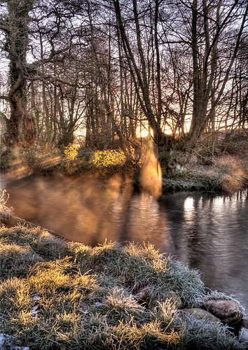 morning mist sunrise river frost norfolk hdr castleacre
