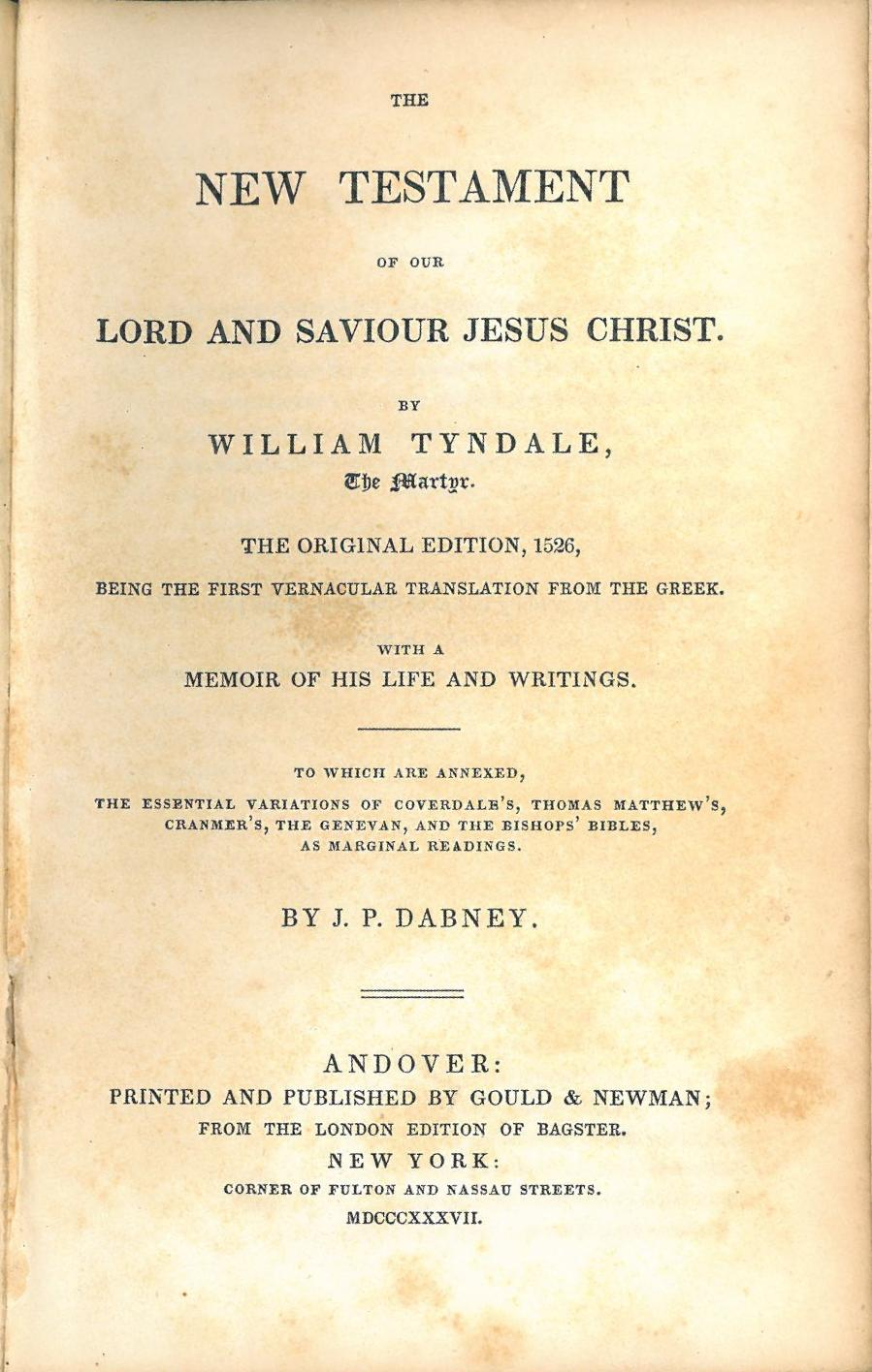 an introduction to the life of william tyndale Melvyn bragg turns his zeal for lasting history to the life of william tyndale  perfect for  this brief historical introduction to william tyndale explores the  social,.