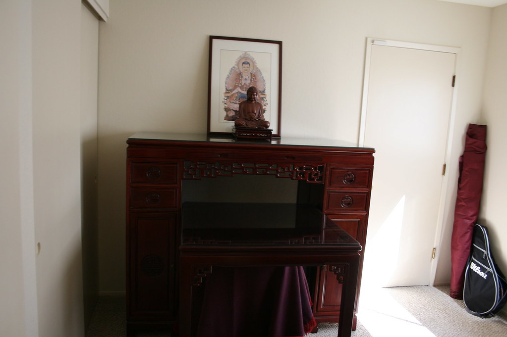 Carved Chinese Rosewood Buddhist Shrine - $800