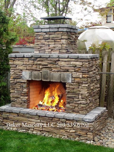 Outdoor Stone Fireplace Baker Masonry LLC 503 539 6792