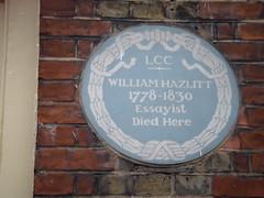 Photo of William Hazlitt blue plaque