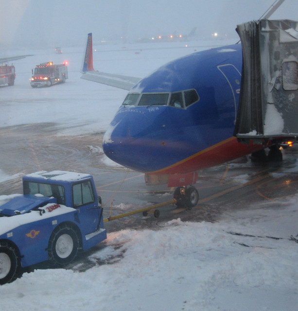 Our Vegas-bound plane finally pulled to the gate in Buffalo