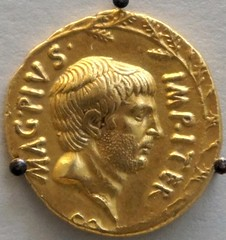 RRC 511/1 gold aureus of Sextus Pompeius 37BC showing Pompey the Great on display in the British Museum (47)