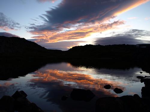 sunset lake reflection silhouette clouds landscape iceland tarn naturesfinest strandir anawesomeshot