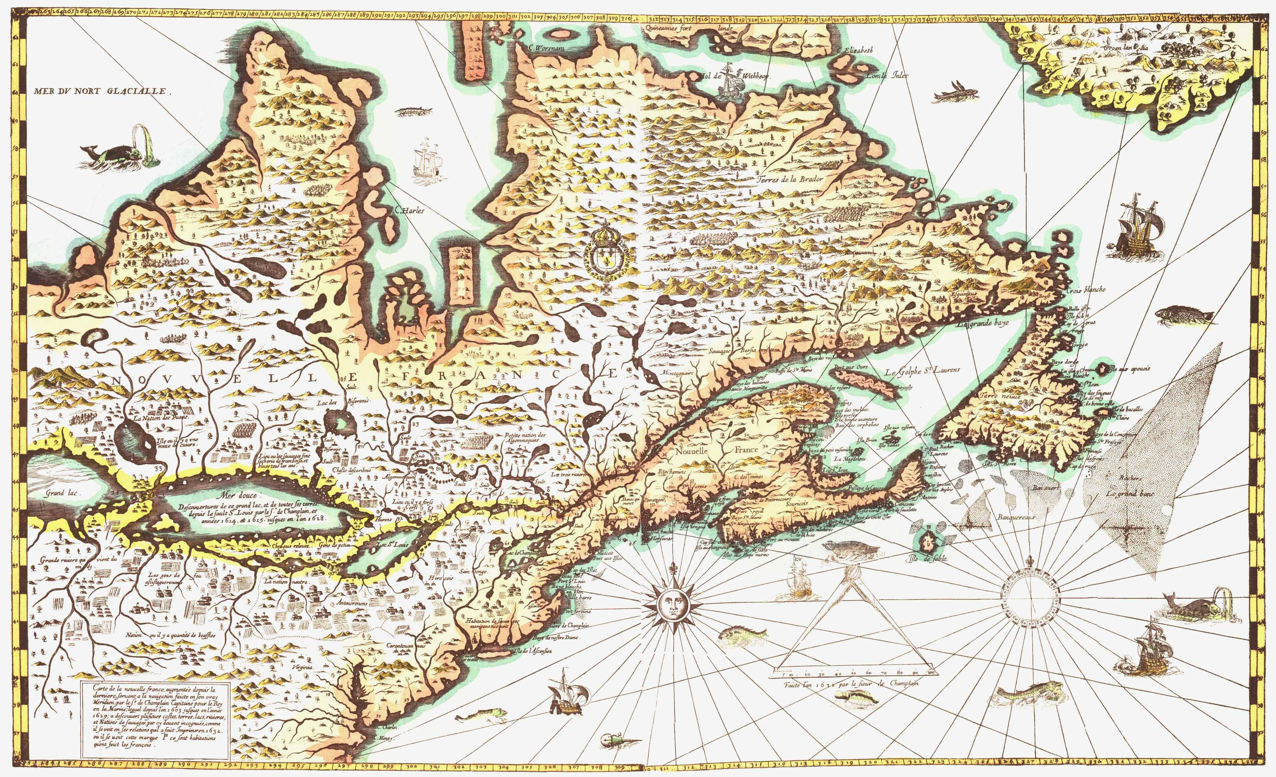 Carte De La Nouvelle France By Samuel De Champlain 1632