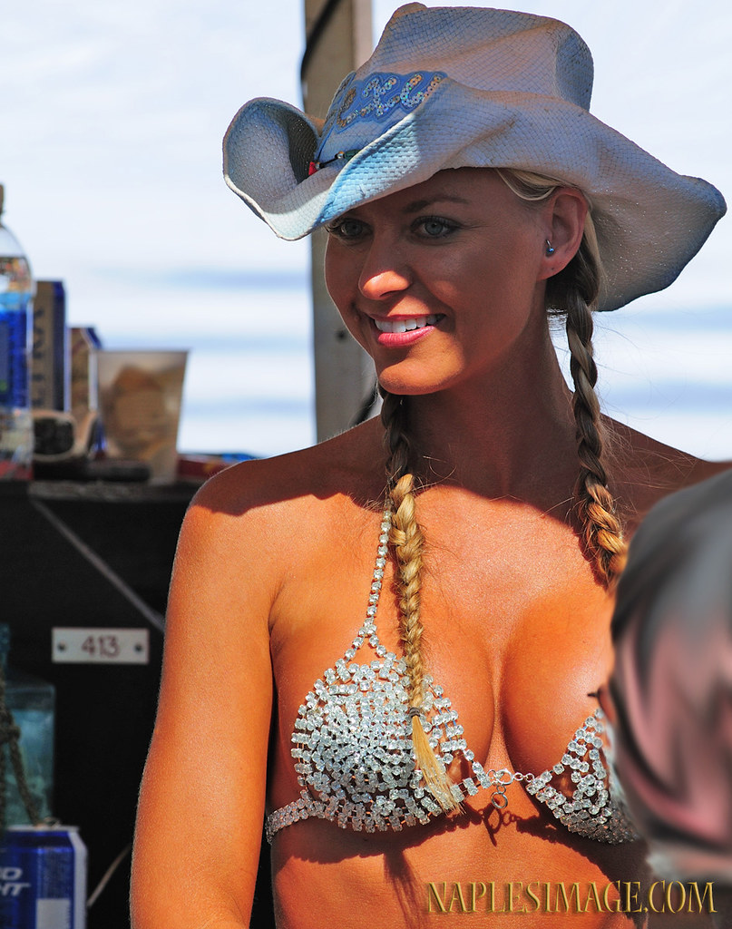 Picture of hot girl in cowboy hat and bikini at Biketoberfest Daytona