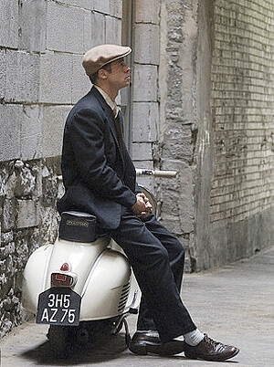 Brad Pitt with his Vespa