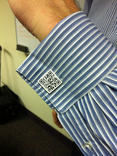 QR Code Cufflinks - Modeled by our CEO, John Foley, Jr.