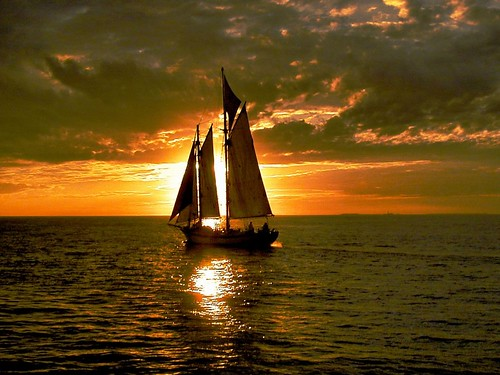 colorful sunset sails