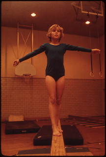 Young Gymnast Trains in the Gymnasium of the Turner Club in New Ulm, Minnesota...