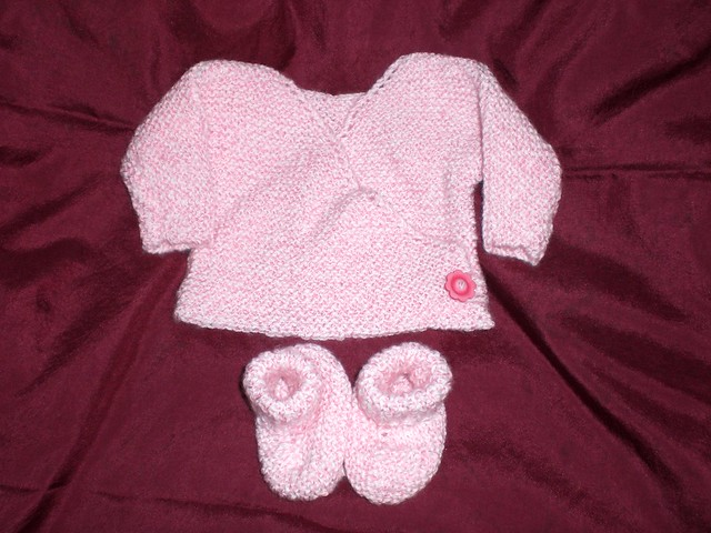 Child s Kimono Knitting Pattern : Pink Preemie Kimono and Booties Flickr - Photo Sharing!