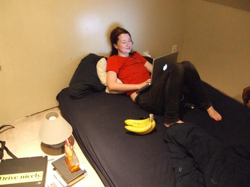 Sarah Stambaugh - red shirt, bananas