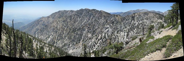 Ontario Peak and Bighorn Peak panorama, with Mt Baldy behind them