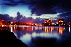 The photo above shows a panoramic view of Maroochydore at night.