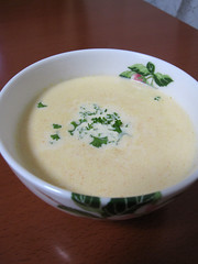vegetable(0.0), produce(0.0), corn chowder(1.0), bisque(1.0), cream of mushroom soup(1.0), clam chowder(1.0), food(1.0), leek soup(1.0), dish(1.0), soup(1.0), cuisine(1.0),