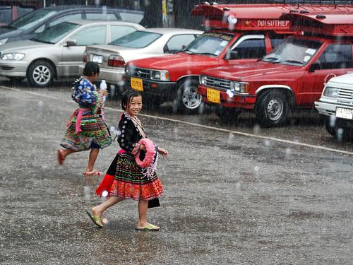Hmong girl in the rain