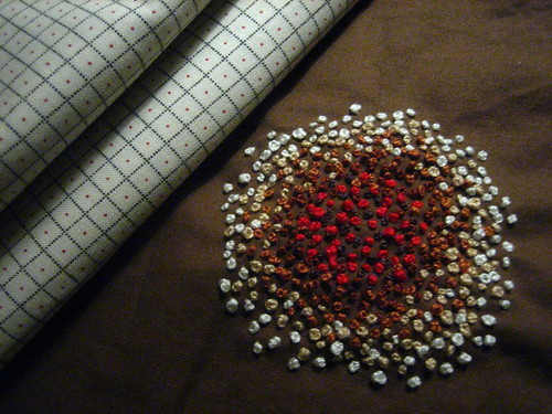 French Knots - Red and Browns on Brown