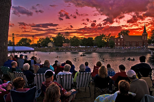 sunset red summer people 15fav music orange ontario canada color water colors river fire seasons crowd august niagara welland symphony wellandcanal niagarasymphonyorchestra luminaqua