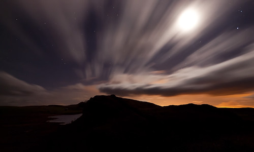 The windy, starlit, sky rushes over Hadrian's Wall