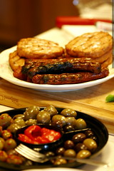 bbq food   salmon burgers, hot dogs, olive plate    …