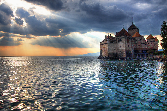 The Sun Sets on Château de Chillon