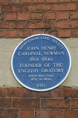 Photo of John Henry Newman blue plaque