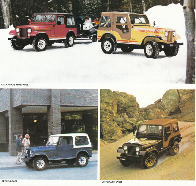 1980 Jeep CJ-5 Renegade and Golden Eagle.  Jeep CJ-7 Renegade