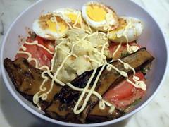 Salad with Boiled Eggs, Sweet Potatoes, Eggplants,…