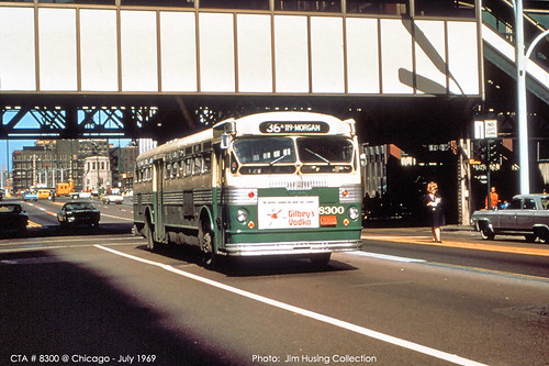 Historic photo!  A Chicago Transit Authority mid 1950's era Flxible Twin Coach Company propane powered transit bus. Chicago Illinois USA. July 1969. by Eddie from Chicago