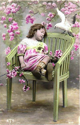 Vintage Postcard  ~ Little Girl w/ Dove