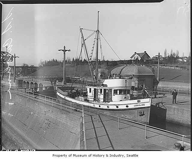 Fishing boat caroline in ballard locks seattle 1938 for Fishing boats seattle